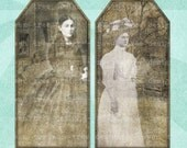 VICTORIAN GHOSTS Printable Tags & Bookmark Digital Collage Sheet - no. 0021