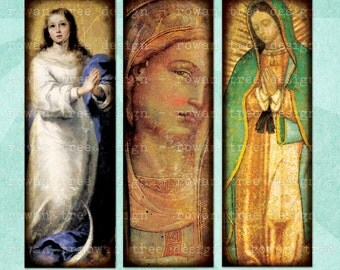 Digital Collage Sheet THE VIRGIN MARY 1x3in Microscope Slide Religious Christian - no. 0061