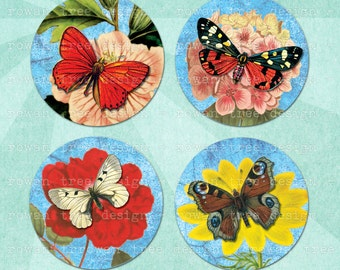 Printable Collage Sheet BUTTERFLIES ON BLOSSOMS 1.5in or 1in Circles Digital Download - no. 0086