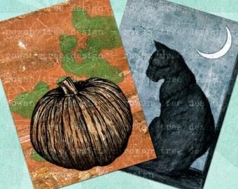 Digital Collage Sheet HALLOWEEN SCENES 2.5x3.5in Cats Bats Pumpkins - no. 0012