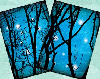 NOVEMBER SKY Digital Collage Sheet 2.5x3.5in Stars Branches - no. 0204