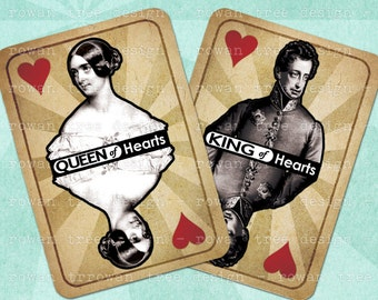 KINGS & QUEENS Digital Collage Sheet 2.5x3.5in Victorian Collage Playing Cards - no. 0165