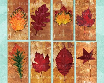 Digital Collage Sheet AUTUMN LEAVES 1x2in Printable Download Domino Tile - no. 0017