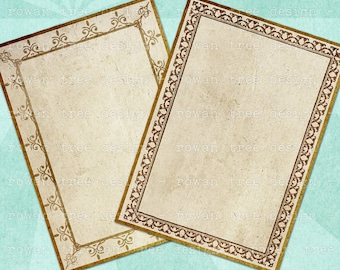VINTAGE FRAMES Digital Collage Sheet Printable 2.5x3.5in Backgrounds - no. 0004