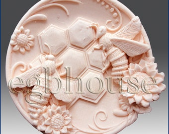 2D Silicone Soap Mold-Busy Bee Plate - Free Shipping
