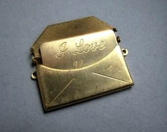 DESTASH- 7 Vintage Brass I love you Envelope pendants with I love you note inside, raw brass charm