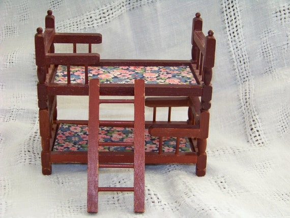 Vintage Dollhouse Bunk Beds Wooden 1970