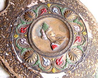 Antique Hand Mirror with Raised Composition or Gutta Percha Design of 1920s Woman