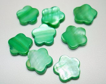 Green Dyed Flower Shell Beads (Qty 8) - B1449