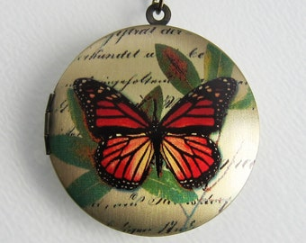 Monarch Butterfly Locket Necklace - Paris Franch Brass Photo Locket  (R3B-D2)