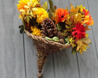 Wicker Cornucopia Rustic Handmade Wedding or Holiday Decor, Eco Thanksgiving Table,  Handwoven Twig Hat,, Witches Hat, PWH
