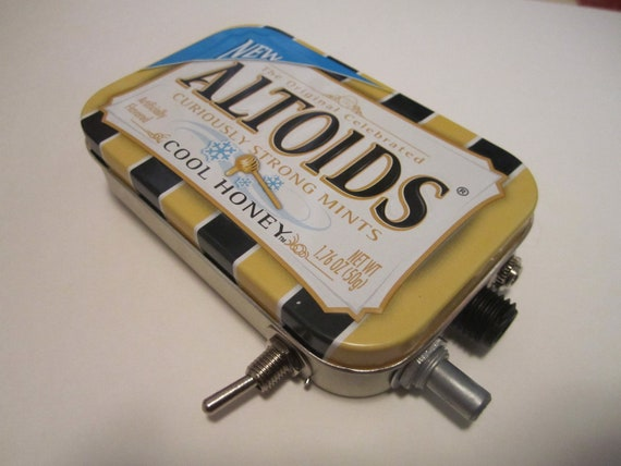 Mint Tin Pocket Guitar Amp, Headphone Amp, MP3 Amp w/ Speaker, Volume Control, & 10X Gain (Honey Altoids)