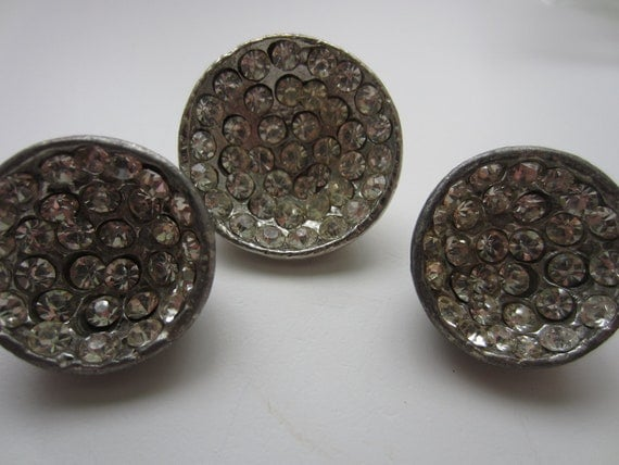 Vintage Button - 3 matching (2 sizes) large heavy antique silver metal with rhinestone embellished , very old (lot 3163)