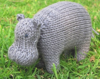 Hippo Knitting Pattern, pdf, Instant Digital Download