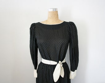 CLEARANCE vintage 80s Black and White Polka Dot Puff Sleeve Day Dress