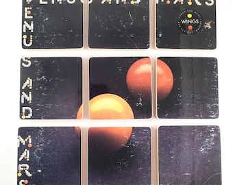 Wings recycled Venus and Mars album art coasters with record bowl