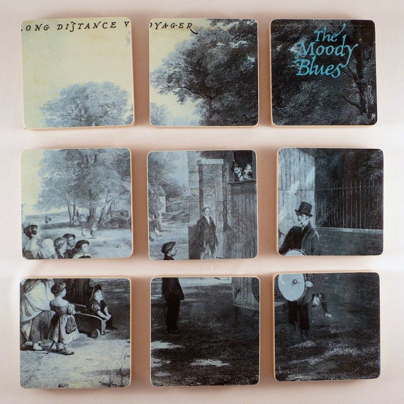 THE MOODY BLUES /  Record Coasters with Record Basket
