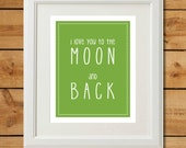 I Love You To The Moon and Back Sign - Green Nursery Print - Printable Art Print - Baby Boy Nursery Wall Art - Kids Room Art