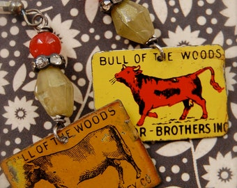 Bull of the Woods-Antique vintage tobacco tag assemblage earrings