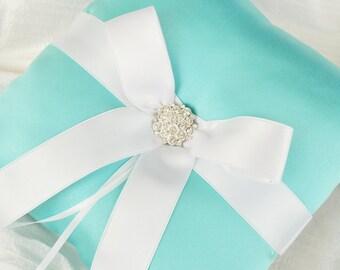 Aqua Blue Wedding Ring Bearer Pillow - Satin Ring Bearer Pillow