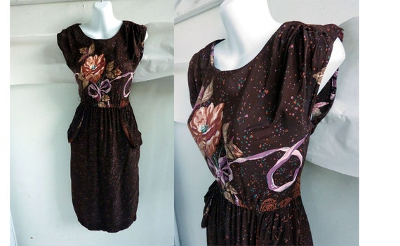 Vintage 70s Dress size 32 Chest Brown Speckled Floral Wiggle Rayon 80s