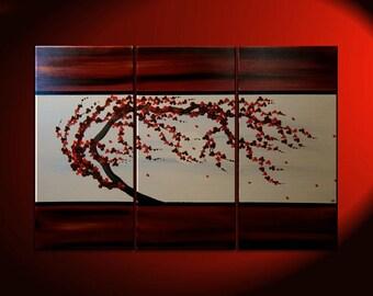 Plum Blossom Painting Custom Deep Rich Reds Textured Floral Tree Chinese Zen Style Original Art 45x30