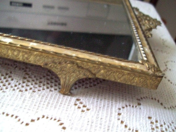 Metal Gold Filagree Mirror Vanity or Perfume Tray Footed Shabby Charm