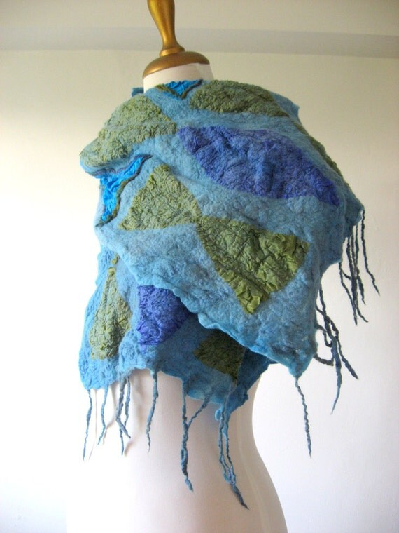 Felted Scarf  Blue Geometric