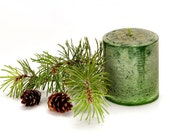 Balsam Fir Scented Christmas Holiday Pillar Candle