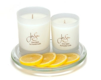 Handmade Citron Splash Natural Soy Candle with essential oils, eco friendly, aromatherapy, small 8 oz (227 grams)