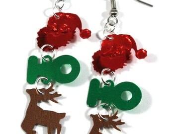 Christmas Earrings Santa Claus Earrings Reindeer Holiday Dangles Plastic Sequins