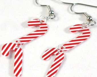 Christmas Earrings Candy Cane Earrings Red & White Stripes Confetti Dangles Plastic Sequins
