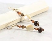 Gold Brown Earrings Jasper Mother of Pearl Tiger Iron Rustic Gemstone