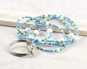 Blue Badge Holder Green ID Lanyard Office Fashion White Badge Lanyard Beaded Badge Holder Silver ID Necklace Badge Leash Stocking Stuffer
