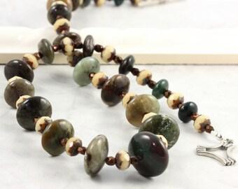 Jasper Necklace Woodland Green Brown Bronze Cream Gemstone Rustic Style