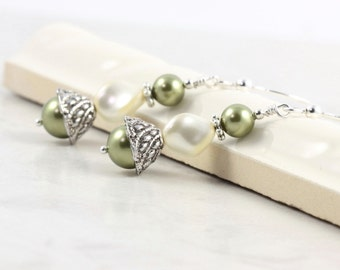 Cream Pearl  Earrings Sage Green Bridal Collection Romantic Mothers Day Jewelry