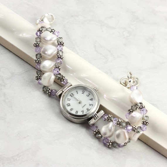 Items similar to white pearl watch violet watch band gray bracelet watch beaded crystal silver for Pearl watches