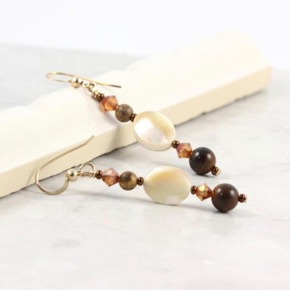Mother of Pearl Earrings Cream Earrings Brown Tiger Iron Earrings Natural Shell Jewelry Gemstone Earrings Rustic Jewelry Earthy Gold Jewelry