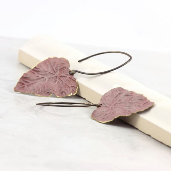 Mauve Leaf Earrings Rustic Boho Brass Patina Handmade Copper Ear Wires Woodland Jewelry Mothers Day Jewelry