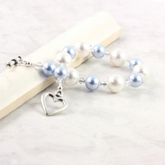 Blue White Bracelet Bridal Jewelry Pastel Pearl Crystal Summer Wedding Fashion Sterling Heart Prom Jewelry