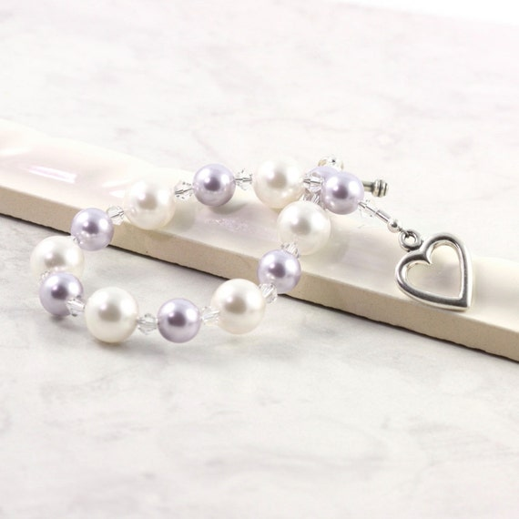 Lavender Jewelry White Bracelet Pastel Pearl Crystal Bridal Jewelry Spring Fashion Sterling Heart Prom Jewelry