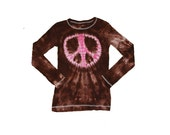 Girls Tie Dye Shirt in Brown with a Hot Pink Peace Sign
