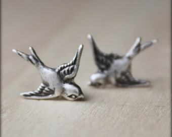 FREE SHIPPING. sparrow. silver. Stud Post Bird earrings.