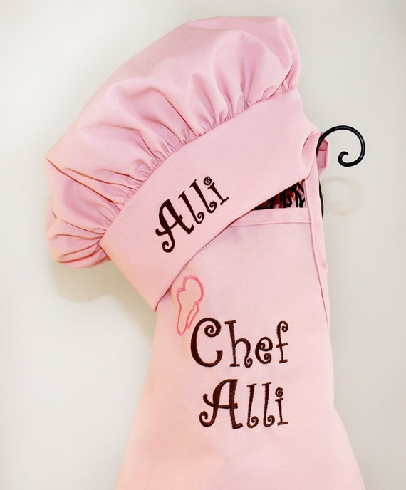 child 39 s embroidered chef apron hat set personalized. Black Bedroom Furniture Sets. Home Design Ideas