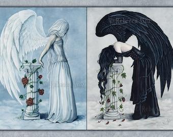 Hope and Despair 19x13 Print Angels Emotions Art