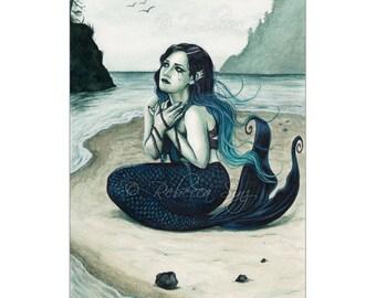 Adrift ACEO Print Gothic MERMAID Artist Trading Cards ATC Fantasy Art beach shore Teal blue green Sea Swept Series