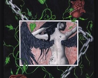 Dark Angel PRINT Gothic Fantasy Art Roses Chains Tattoos Portrait Ivy Black Wings Mixed Media 3 SIZES
