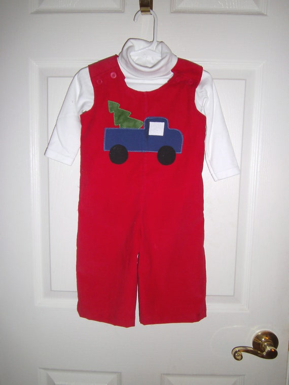 Boys Christmas Jon-Jon,Handmade,  Truck Applique, Red Corduroy