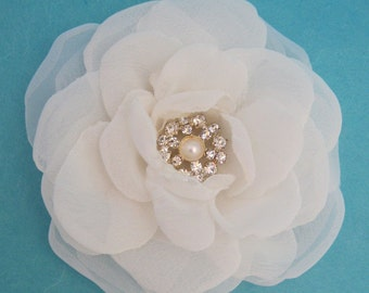 Bridal Hair Flower, Ivory Chiffon and Organza Rose Hair Clip  H046,  bridal hair accessory