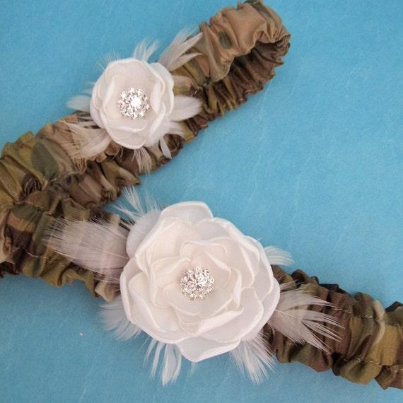 Camouflage and Ivory Satin Feather Rose Garter Set I012- bridal garter wedding accessory